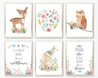 Woodland Nursery Decor, Woodland Nursery Girl, Girl Woodland Nursery, Woodland Girl Nursery, Woodland Animal Nursery Art, Baby Girl Woodland