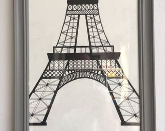 Eiffel Tower black ink
