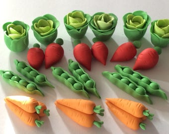 Vegetables  Peter Rabbit cupcakes toppers set of 12 pairs