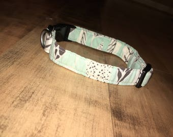 Teal with leaves dog collar