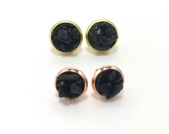 Black Obsidian Earring. Handmade earring. Perfect gift. Stud earring. Cool earring. Gift for loved ones.