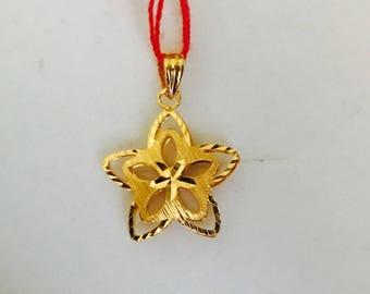 Solid 22k gold flower star pendant
