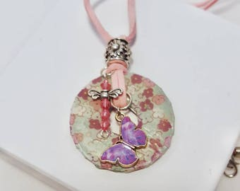 washer pendant necklace with pink and purple flowers, butterfly charm, dragonfly charm, handmade jewelry, pendant necklace, spring jewelry