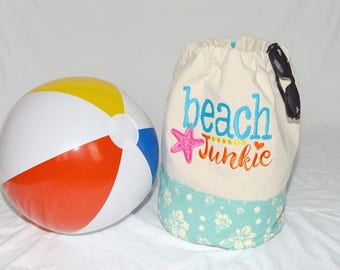 """Drawstring """"Beach Junkie"""" Embroidered and Applique Heavyweight Canvas Beach Bag w Light Turquoise and White Contrasting Trim"""