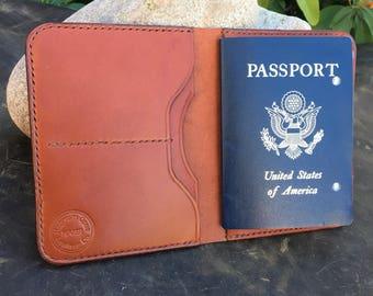 Made To Order:  Full Grain Veg Tan Leather Passport Wallet