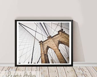 Brooklyn Bridge Print, New York City, NYC, Black and White Photography, Wall Art Decor, Printable Download, Travel Photo, Large Poster