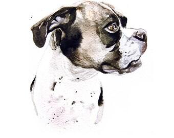 Custom pet portraits commission boxer portrait wall art watercolor, oil canvas, pastel paintining, pencil drawing pet lover artist Romalena