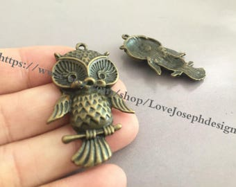 wholesale 100 Pieces /Lot Antique Bronze Plated 43mmx27mm owl Charms(#0452)