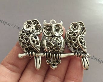 10Pieces /Lot Antique Silver & Bronze Plated 40mmx58mm owl Charms (#0927)