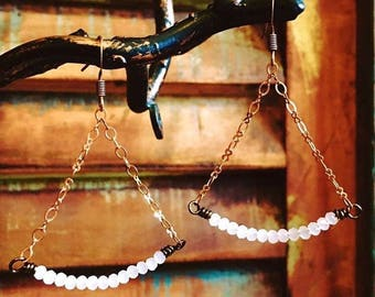 Crystal Quartz Triangle Chain Earrings