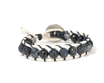 Deep Blue * Single Wrap Bracelet. Boho Style. Bohemian Jewelry. Semiprecious stones. Gift for her. Cuff Bracelet.