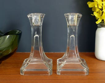 Vintage clear glass candlesticks, candle holders