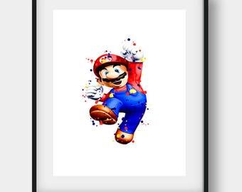 Super Mario Brothers, Mario Poster, Mario Print, Mario Art, Mario Decor, Mario Wall Art, Super Mario Art, Super Mario Print, Video Game Art