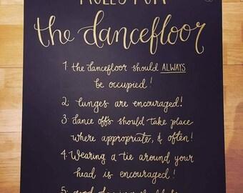 A3 Wedding signage - guest book dancefloor