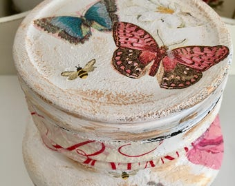 Hand decorated distressed vintage style jar, flowers, butterflies, home decor, storage jar, cotton wool, Mother's Day, shabby chic