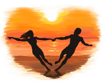 Sunset Valentine's Day Card Couple at the Beach