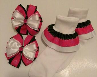 Holiday headband and sock set, baby headband, Christmas hair bow, baby hair bow, colorful socks, newborn ruffle socks, Christmas ruffle sock