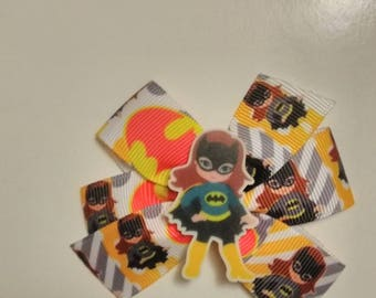 Girl pigtail bows, character pigtail bows, justice kids hair bows, birthday bows, girl super hero bows, batman hair bow, kid super hero's