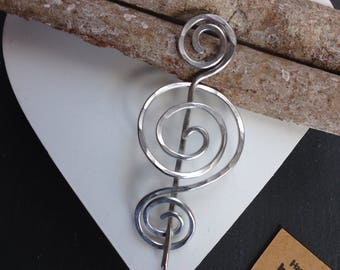 Beautiful spirals brooch for knitwear, silver scarf pin, sweater pin, handmade jewellery gift for her