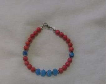 Baby blue and pink bracelet