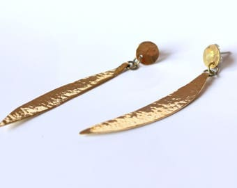 Earrings, hammered, minimal design