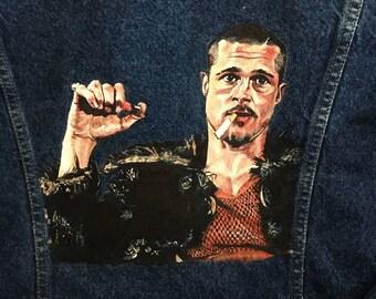 brad pitt as tyler durden fight club hand painted vintage denim jacket