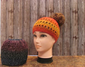 Put Your Hair in There Peachy Orange, Yellow, and Pink Criss-Cross Messy Bun Women's Winter Hat (C1)