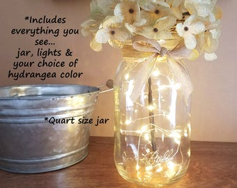 Mason Jar with Lights, Farmhouse Decor, Firefly Lights, Mason Jar Decor, Rustic Home Decor, Rustic Wedding Decor, Wedding Decor