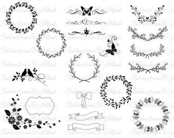 Floral Ornament Svg Floral Wreath Svg Dxf Png Eps Files Vector Laurels wreath Hand drawn wreath floral clipart SVG Monogram flowers