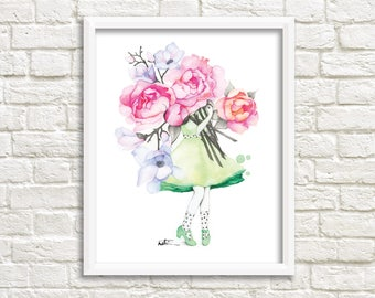 Peony and magnolia florist illustration / poster 8 x 10 female flowers / watercolor drawing Reproduction / Katrinn Pelletier