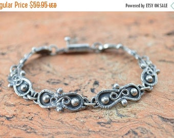 HUGE Sale Vintage Spiral Detailed Link Bracelet Sterling Silver 20.1g