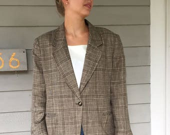 Vintage 90s Relaxed Fit Brown Plaid Linen Blazer | S-L