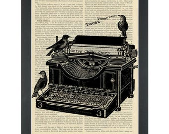 Vintage Typewriter Dictionary Art Print