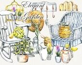 Garden clipart, spring clipart, garden tools,garden furniture, watercolor garden tools, Hand Painted, clip art, digital watercolor