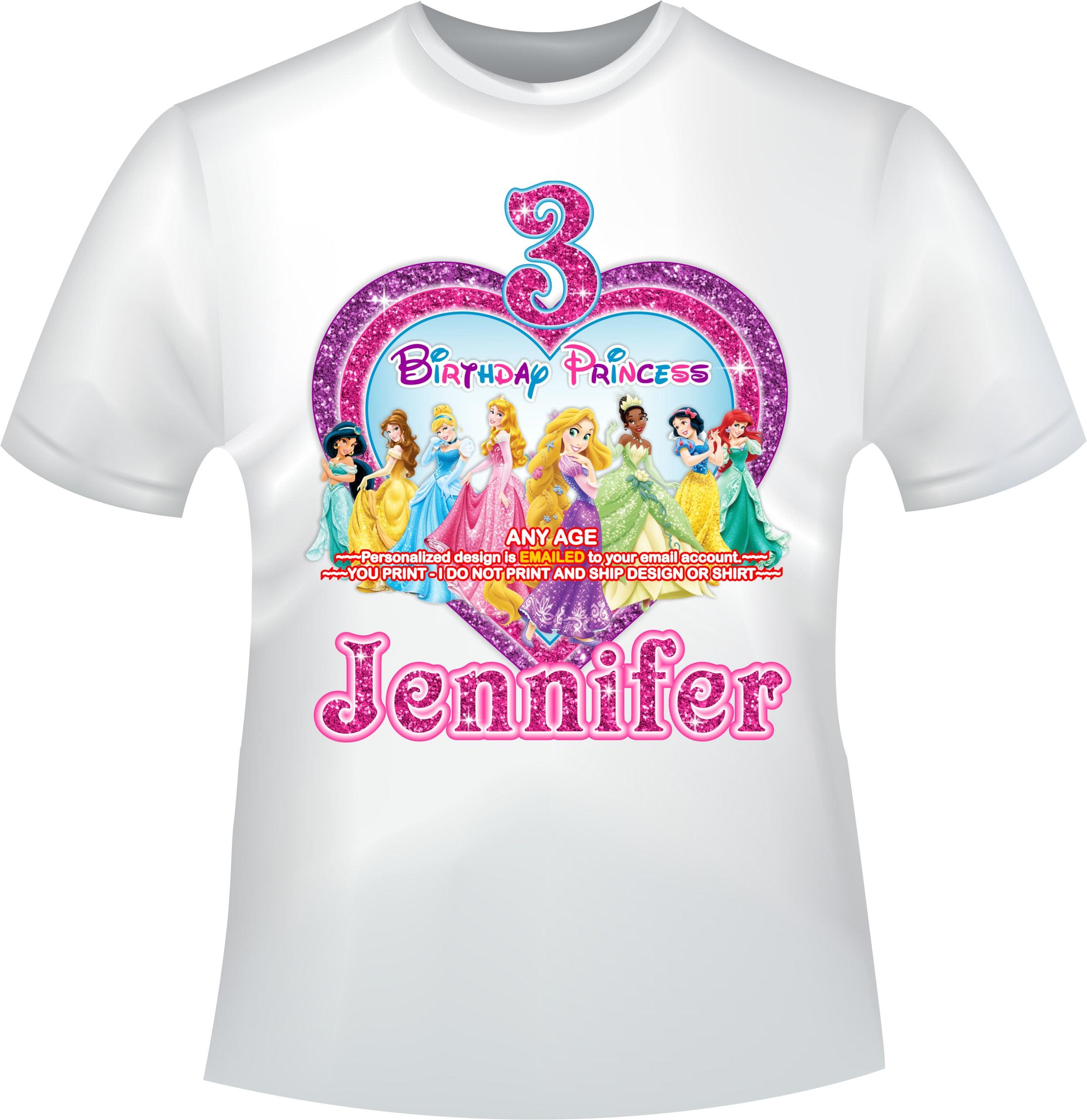 ec717df92 YOU PRINT -Disney Princess Birthday girl iron on, Princess Mommy of iron  on, Princess Daddy of T-shirt ...