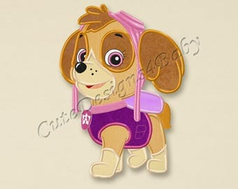 SALE! Paw Patrol Skye applique embroidery design, Paw Patrol Machine Embroidery Designs, Embroidery designs for baby, Instant download #007