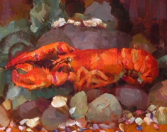 Lobster - original oil painting, alla prima oil painting, one of a kind