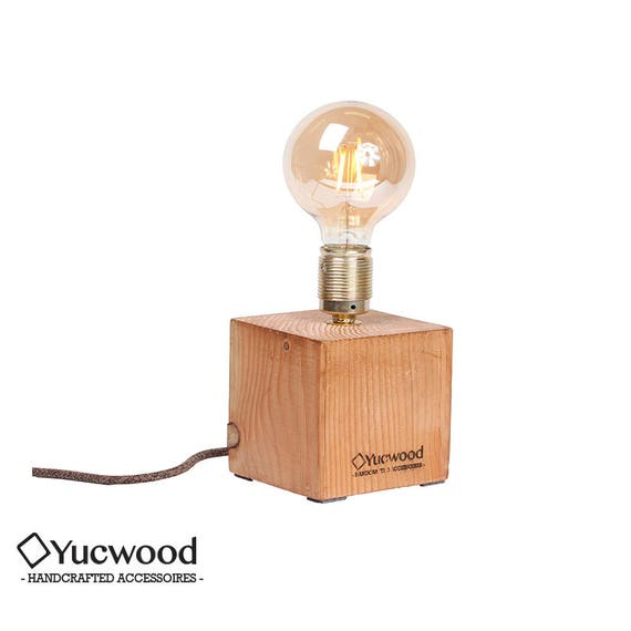 "Edison desk lamp, Night lamp, ""Cube One"", industrial lamp, wooden lamp, handmade, Loft, natural lamp, Bar lighting,"