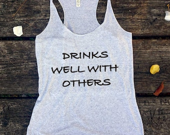 Drinks well with others// Tank top woman, Let's Get Ready to Stumble,St Patricks Day Shirt,St Pattys Day, Drinking Shirt Ask a question
