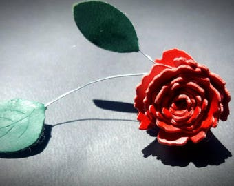Synthetic leather rose branch earrings