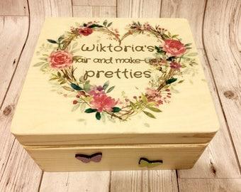 Hair/makeup personalised teenage/adult wooden box