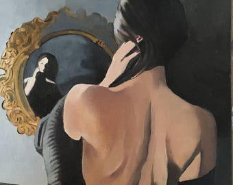 mirror,8x8 original oil on canvas, figurative art,women looking in a mirror