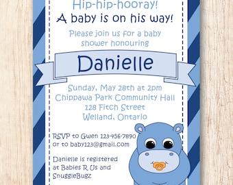 Baby Shower Invitation - Blue Hippo