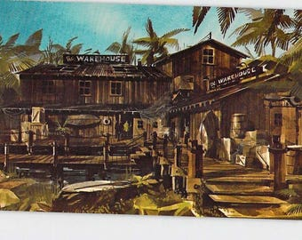 Marina Del Ray California CA The Warehouse Restaurant Illustrated Vintage Postcard