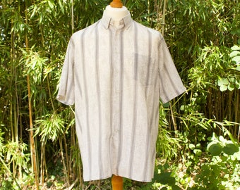 Vintage Paisley And Striped Short Sleeved Button Down Collar Shirt  Size - Extra Extra Large
