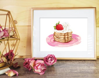 Pancake Illustration Print // Strawberry and Cream // Food Illustration