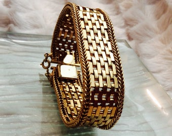 Vintage Wide Gold-Plated Cuff Bracelet with safety chain