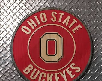 Ohio State Buckeye Carved Sign