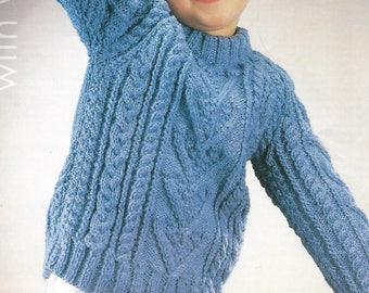 knitting pattern, boy's cable aran knit jumper, sweater, ages 2 to 9 years, pdf, instant download