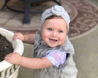 Heather gray, baby turban, knot turban, baby hat